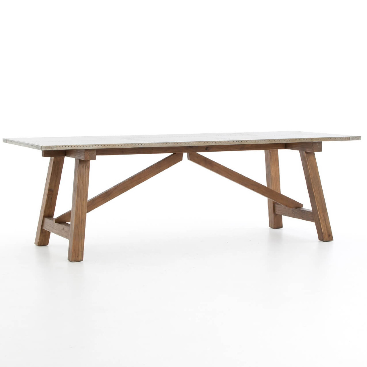 Kirk reclaimed fir zinc clad top dining table 95