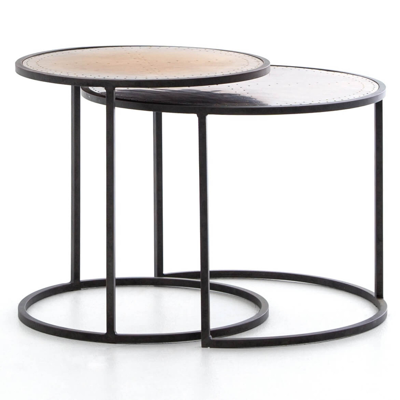 Amazing Catalina Brass Clad Round Nesting Side Tables