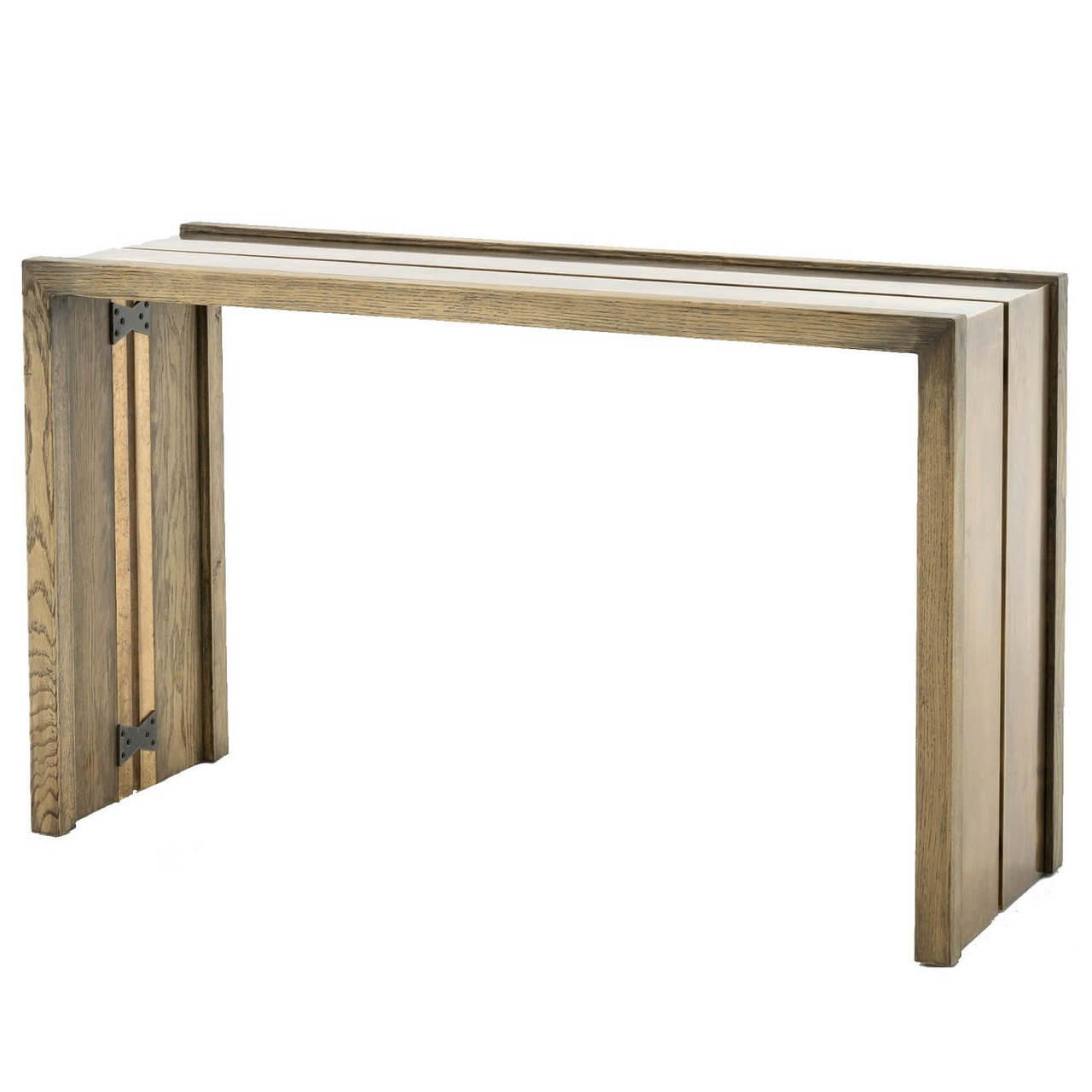 brass console table. Weaver Antiqued Brass Clad + Oak Wood Console Table 50\ M