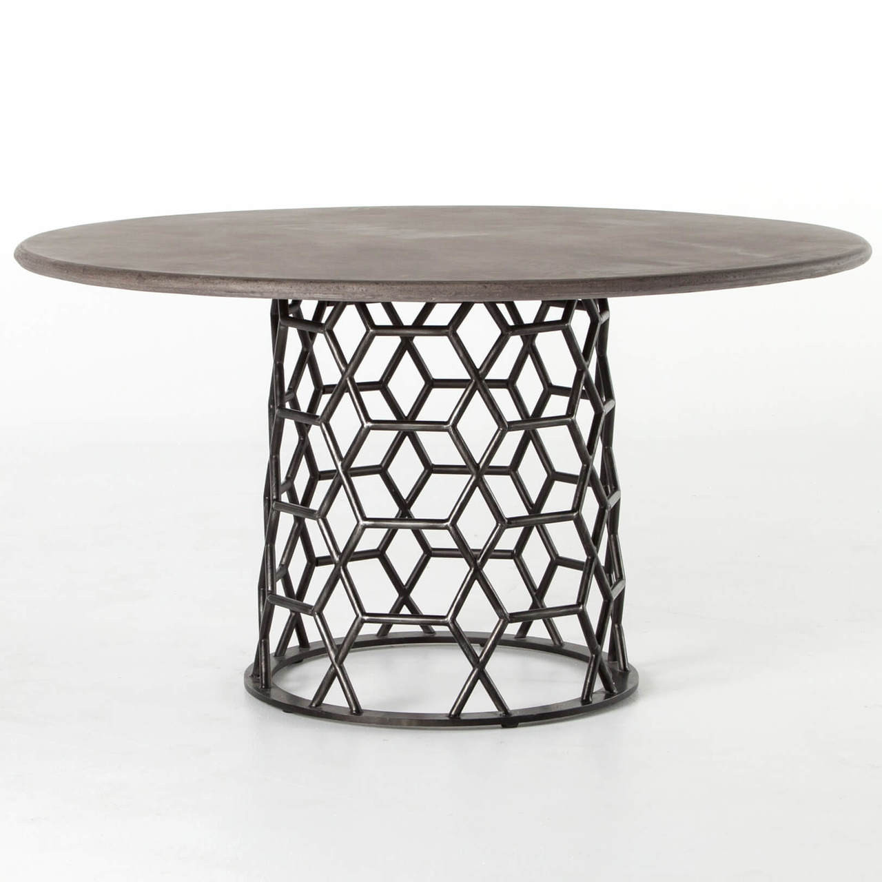 Arden Concrete Top Metal Pedestal Round Dining Table Zin Home - Concrete pedestal dining table