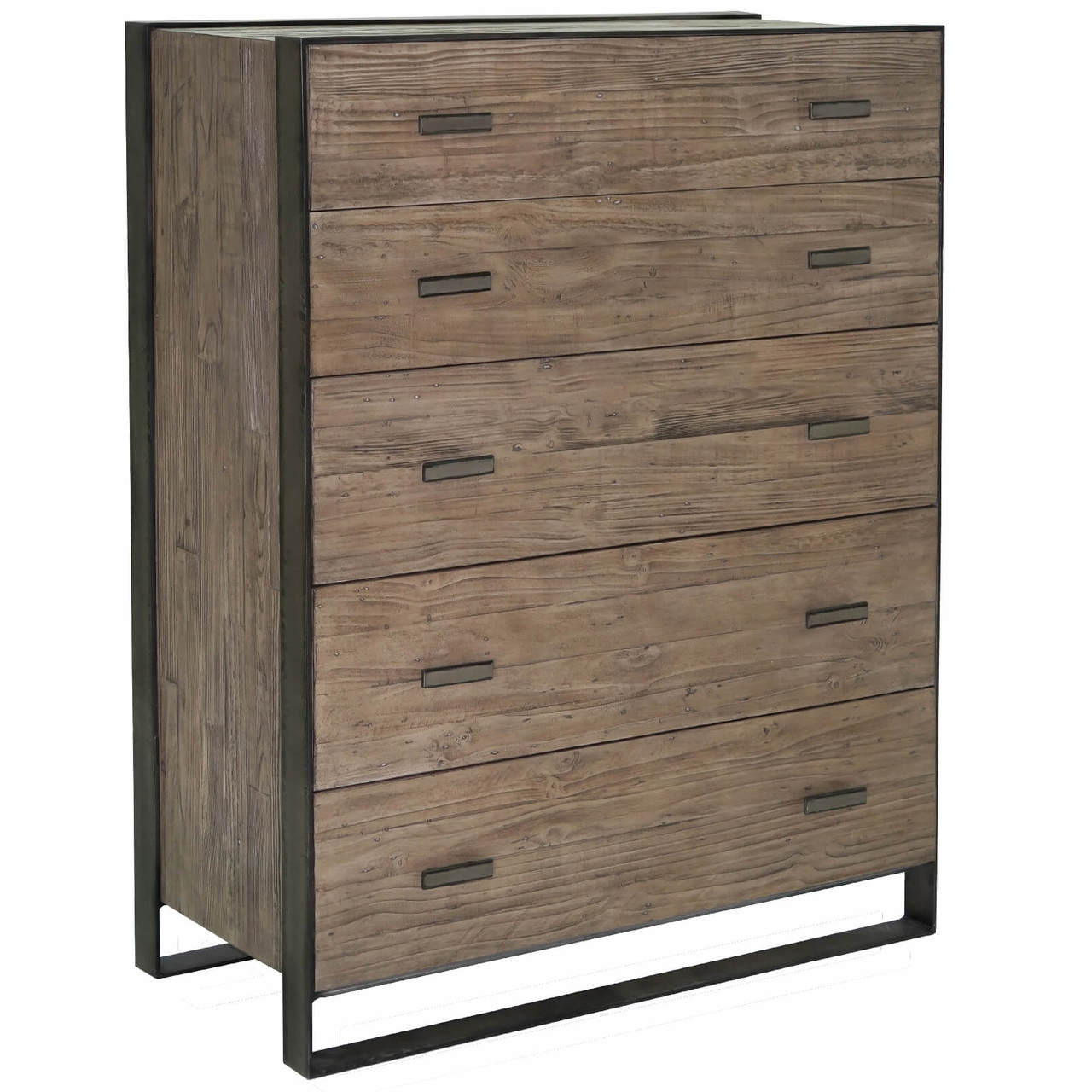 Flat Stock Industrial Iron Wood  Drawers Tallboy Chest
