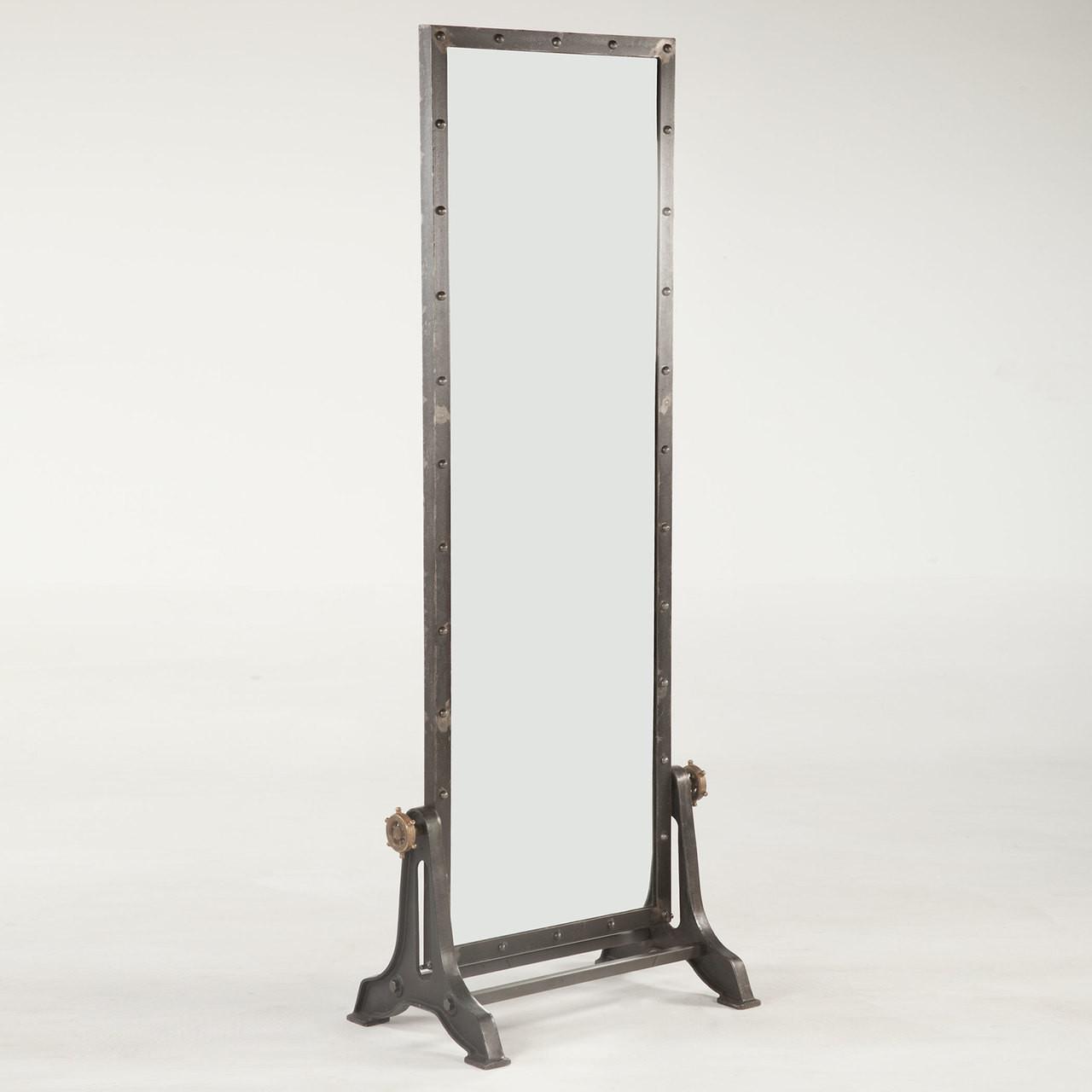 Steampunk Industrial Steel Floor Mirror   Zin Home