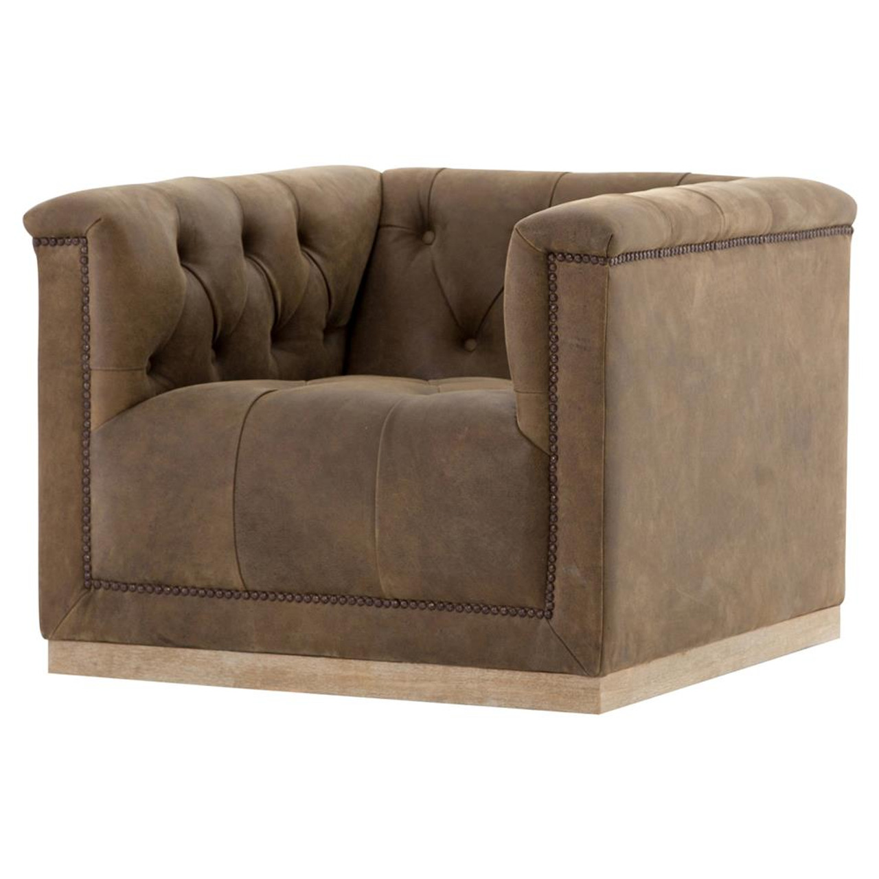 Maxx Distressed Tufted Leather Swivel Club Chair