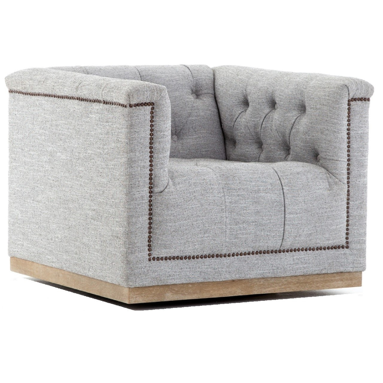 Bon Maxx Grey Fabric Upholstered Tufted Swivel Club Chair