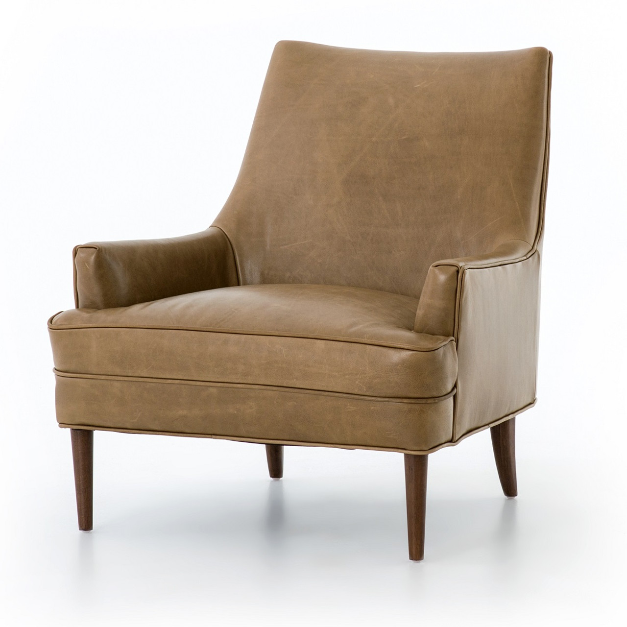 Danya Mid Century Modern Taupe Leather Accent Chair
