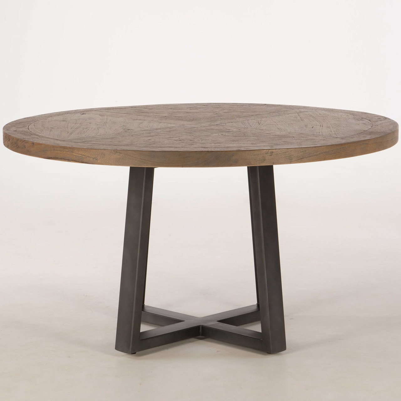 long beach wood and iron round dining table 54 zin home. Black Bedroom Furniture Sets. Home Design Ideas