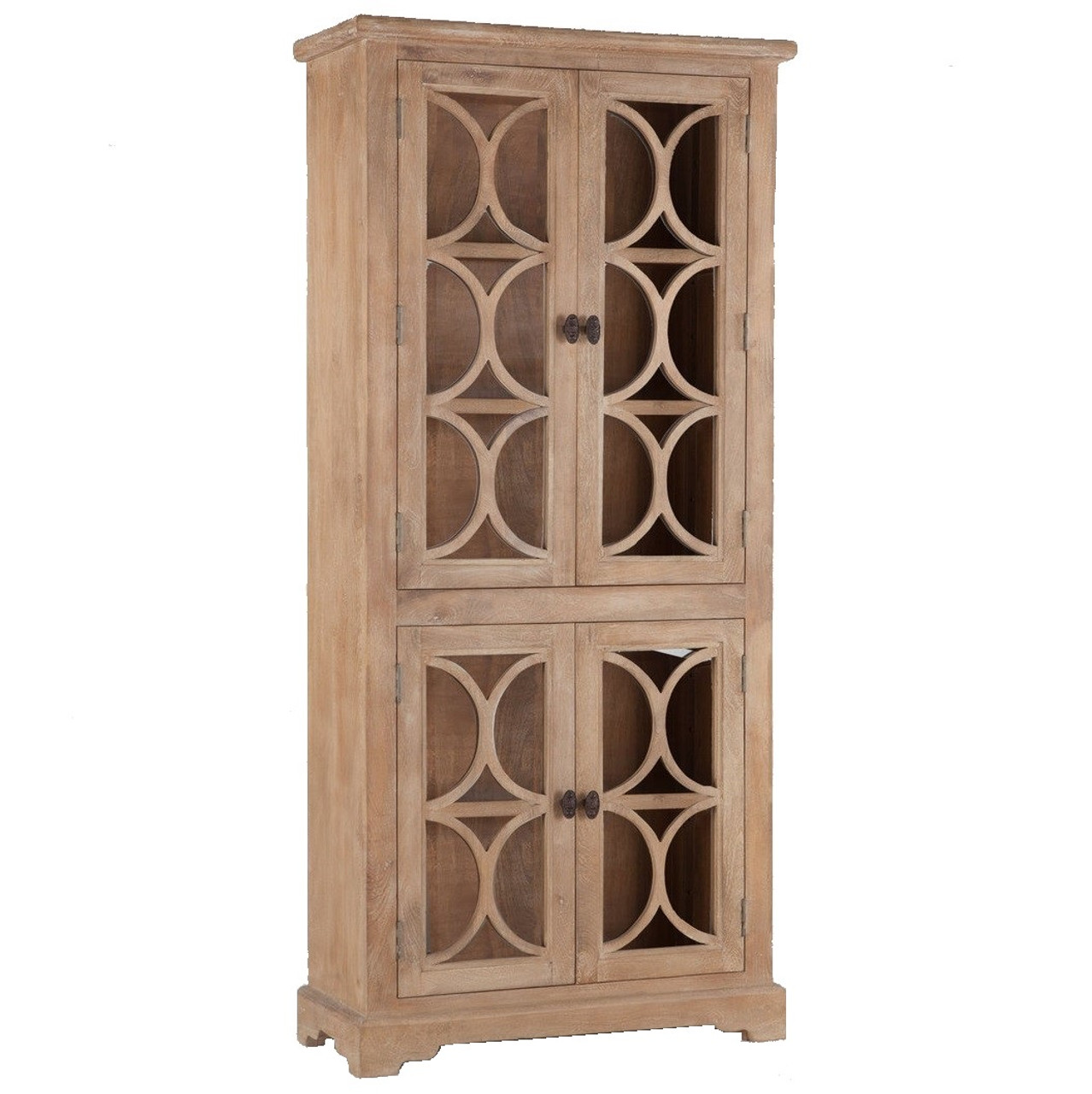 French Glass Kitchen Cabinet Doors: French Farmhouse Solid Wood Display Cabinet With Glass