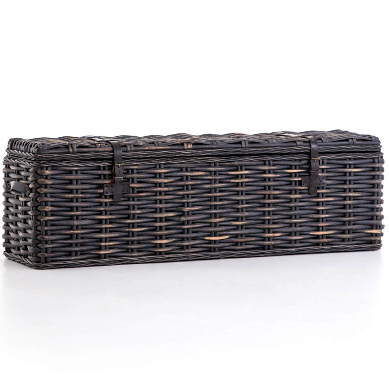 Coastal Black Wash Woven Wicker Storage Trunk