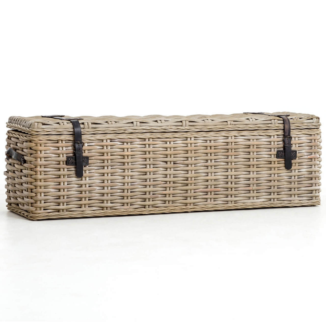 Coastal Vintage Grey Woven Wicker Storage Trunk