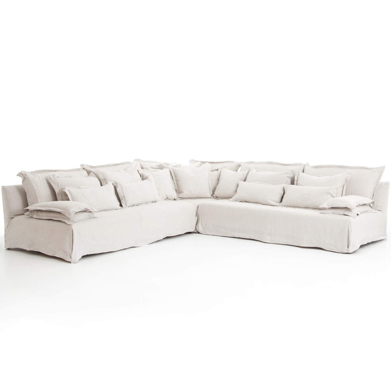 Attrayant Esquire Bellevueu0027s Linen Upholstered Corner Sectional Sofa