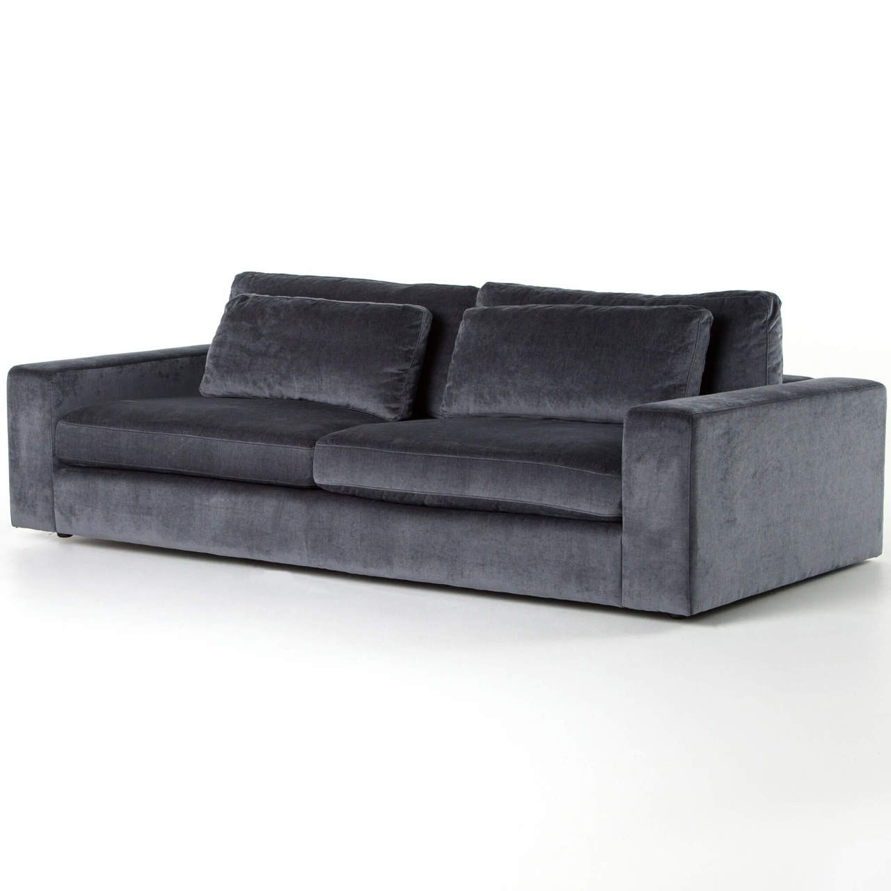 Charcoal Velvet Sofa: Bloor Contemporary Charcoal Grey Velvet Upholstered Sofa 98""