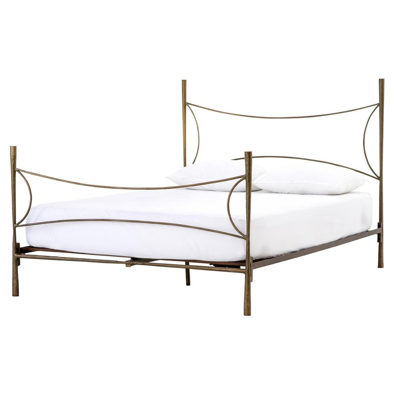Alberto Antique Brass Queen Bed Frame   Zin Home