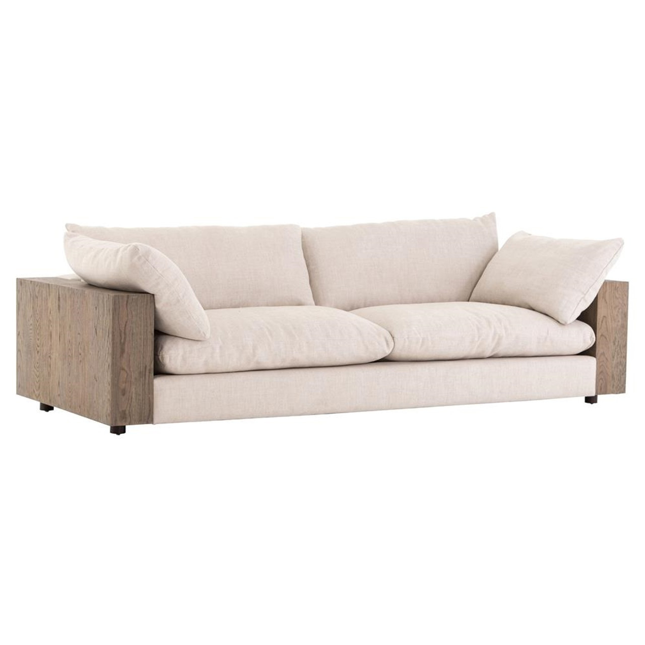 Bernard beige cushion back exposed oak wood frame sofa
