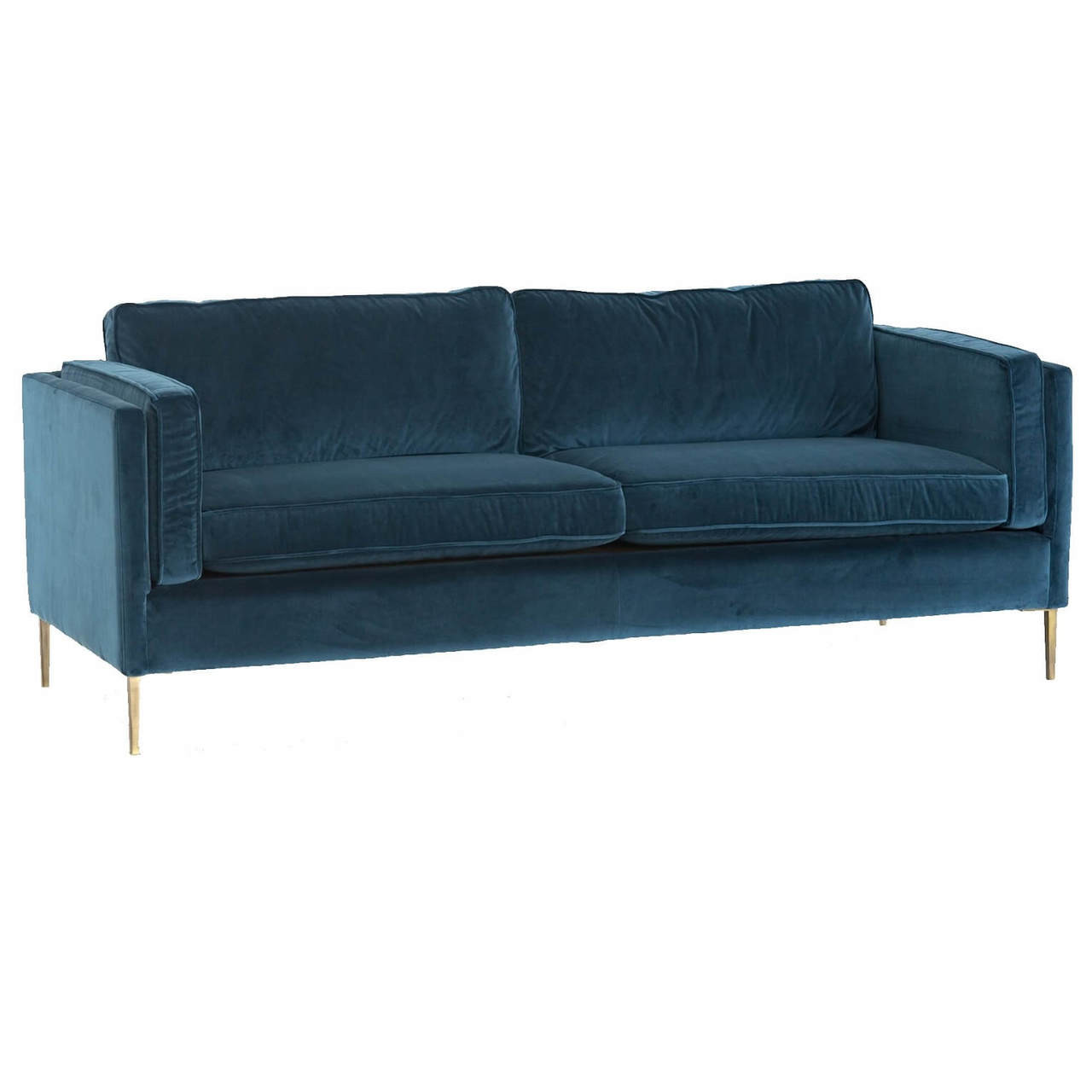 Exceptionnel Emery Mid Century Modern Sapphire Velvet Sofa With Brass Legs