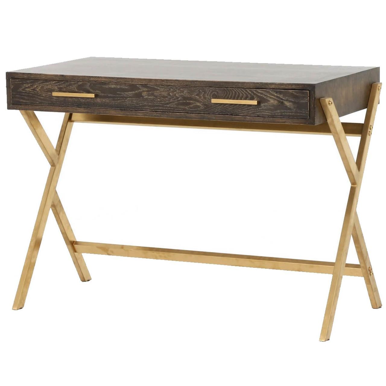 Dante Mid Century Modern Oak Wood Gold Brass Writing Desk