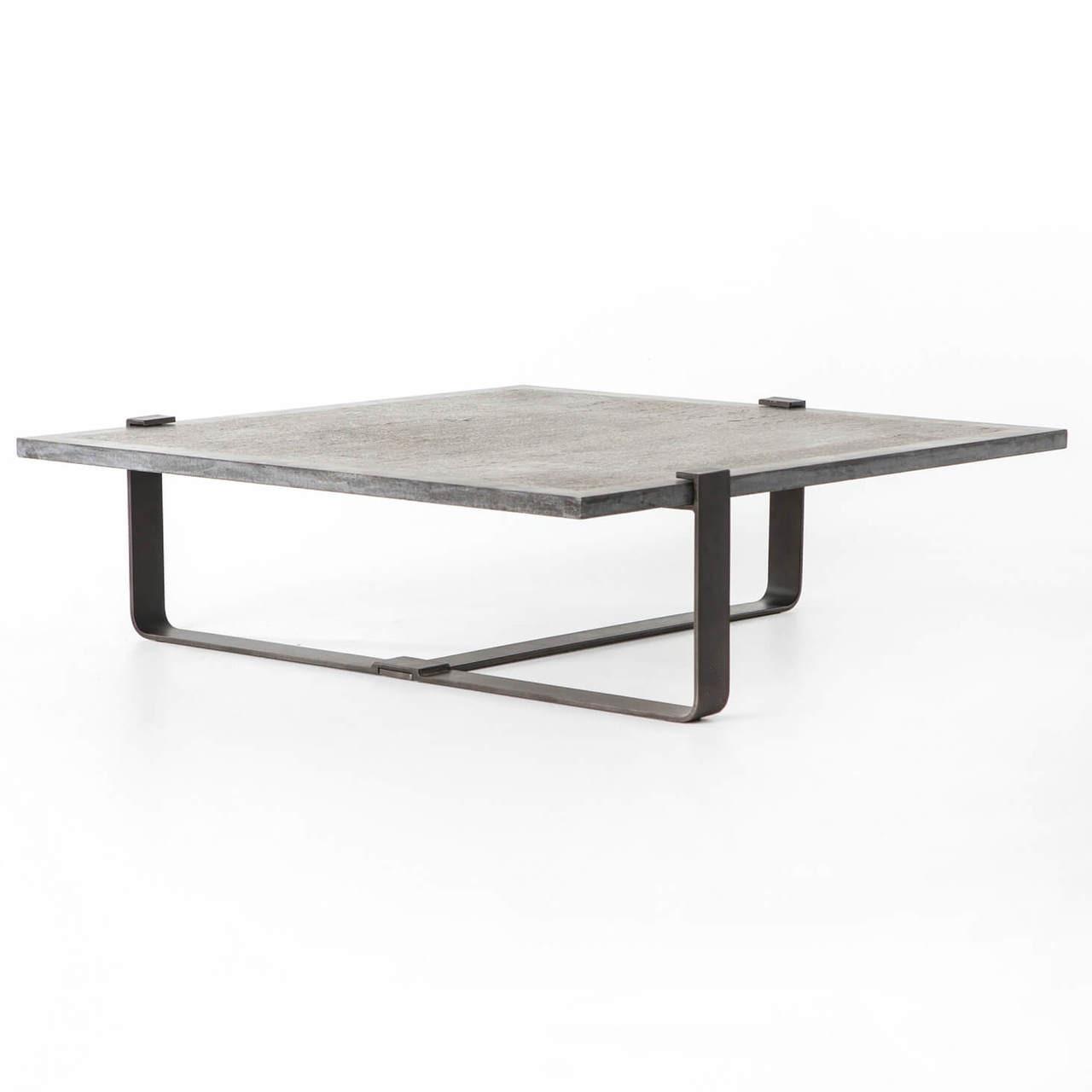 Delicieux Carino Industrial Iron Bluestone Square Coffee Table