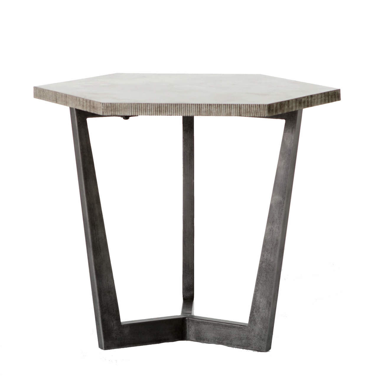 Beau Quentin Industrial Iron Bluestone Hexagon End Table
