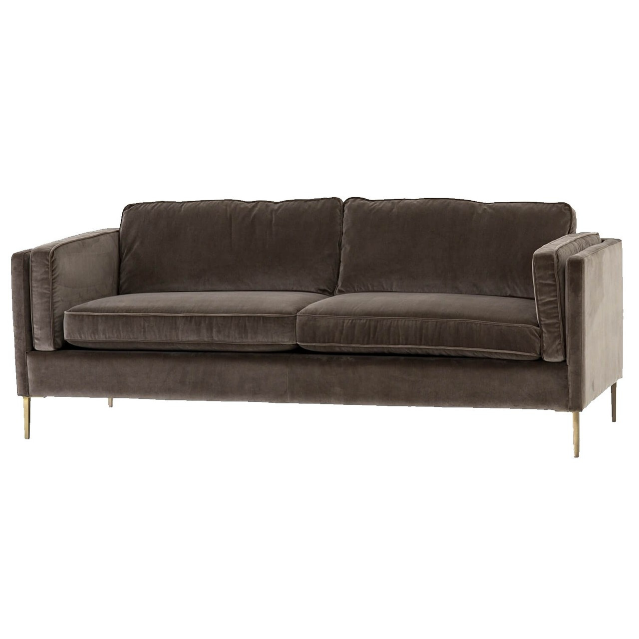 Emery Mid Century Modern Brown Sofa With Brass Legs