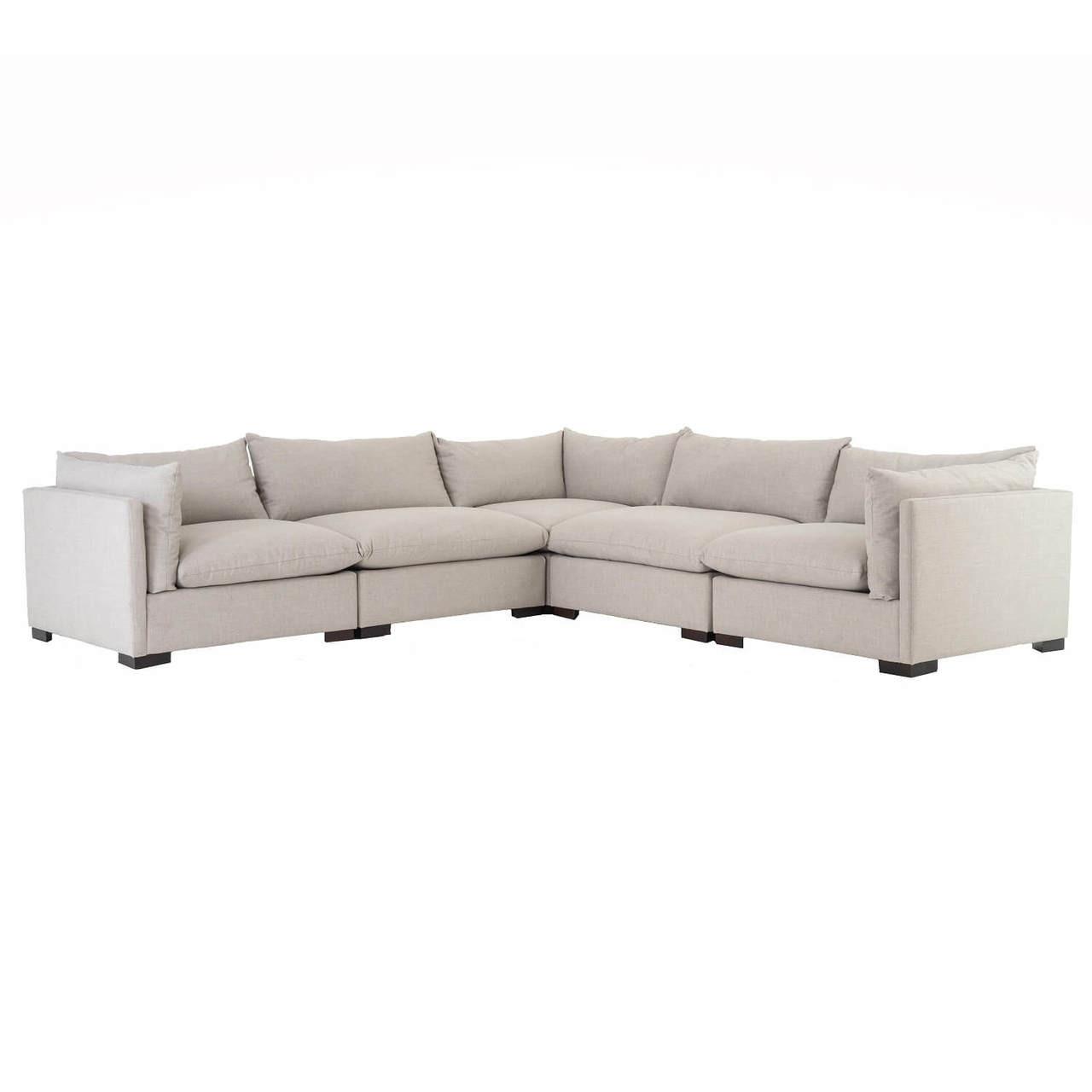 Grant Modern Charcoal Grey Armless Corner Sectional: Westworld Modern Neutral Beige 5-Piece Corner Sectional