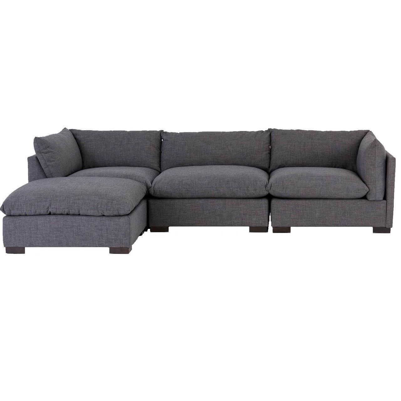 Westworld Modern Gray 4 Piece Modular Lounge Sectional