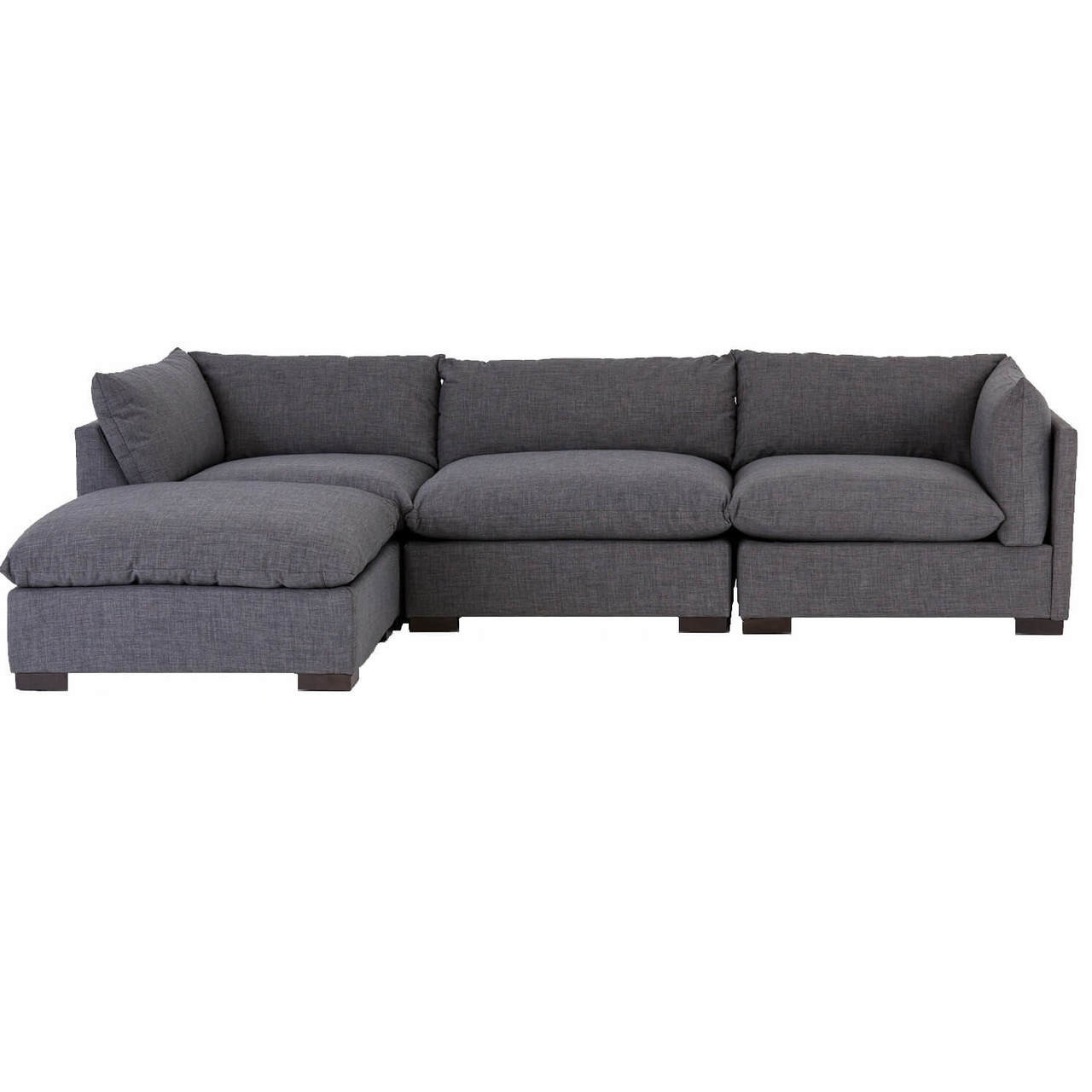 Merveilleux Westworld Modern Gray 4 Piece Modular Lounge Sectional Sofa