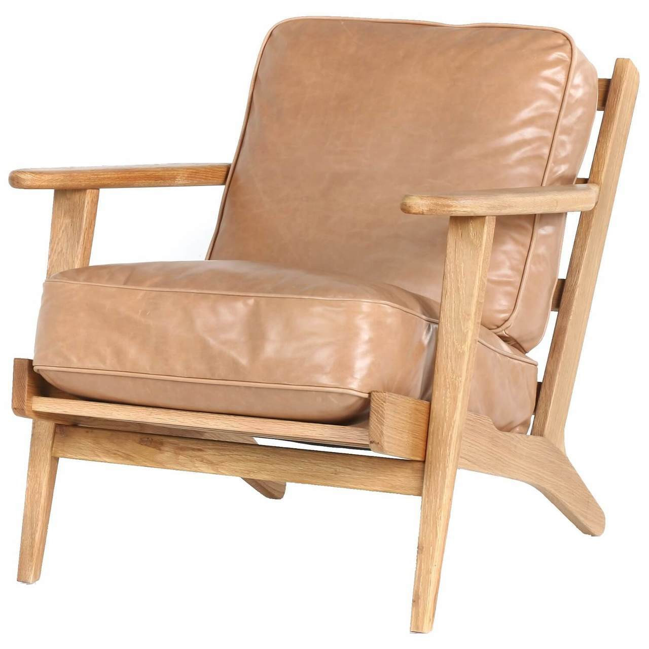 Mid-Century Modern Brooks Tan Leather Lounge Armchair ...