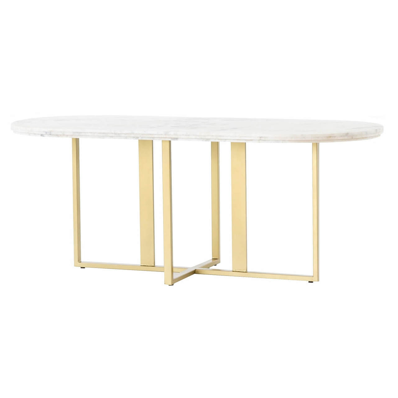 Marble Coffee Table With Copper Legs: Torino Brass Leg White Marble Oval Dining Room Tables 74