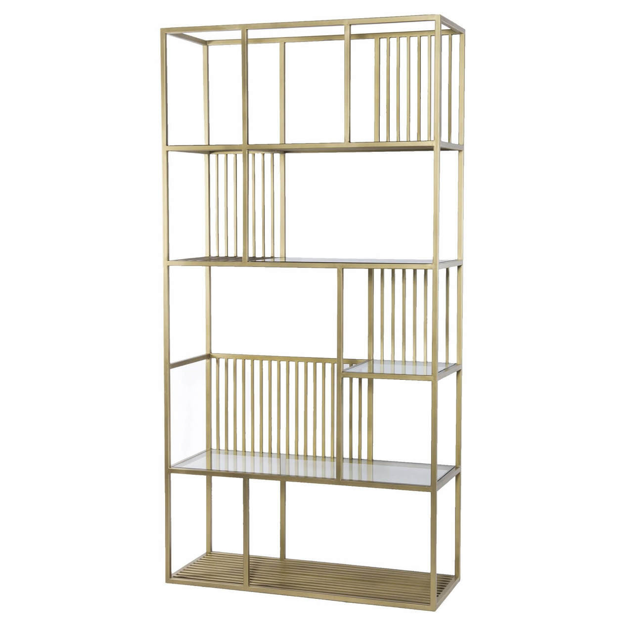 Cage Regency Brass and Glass Shelf Bookcase Etagere 42\