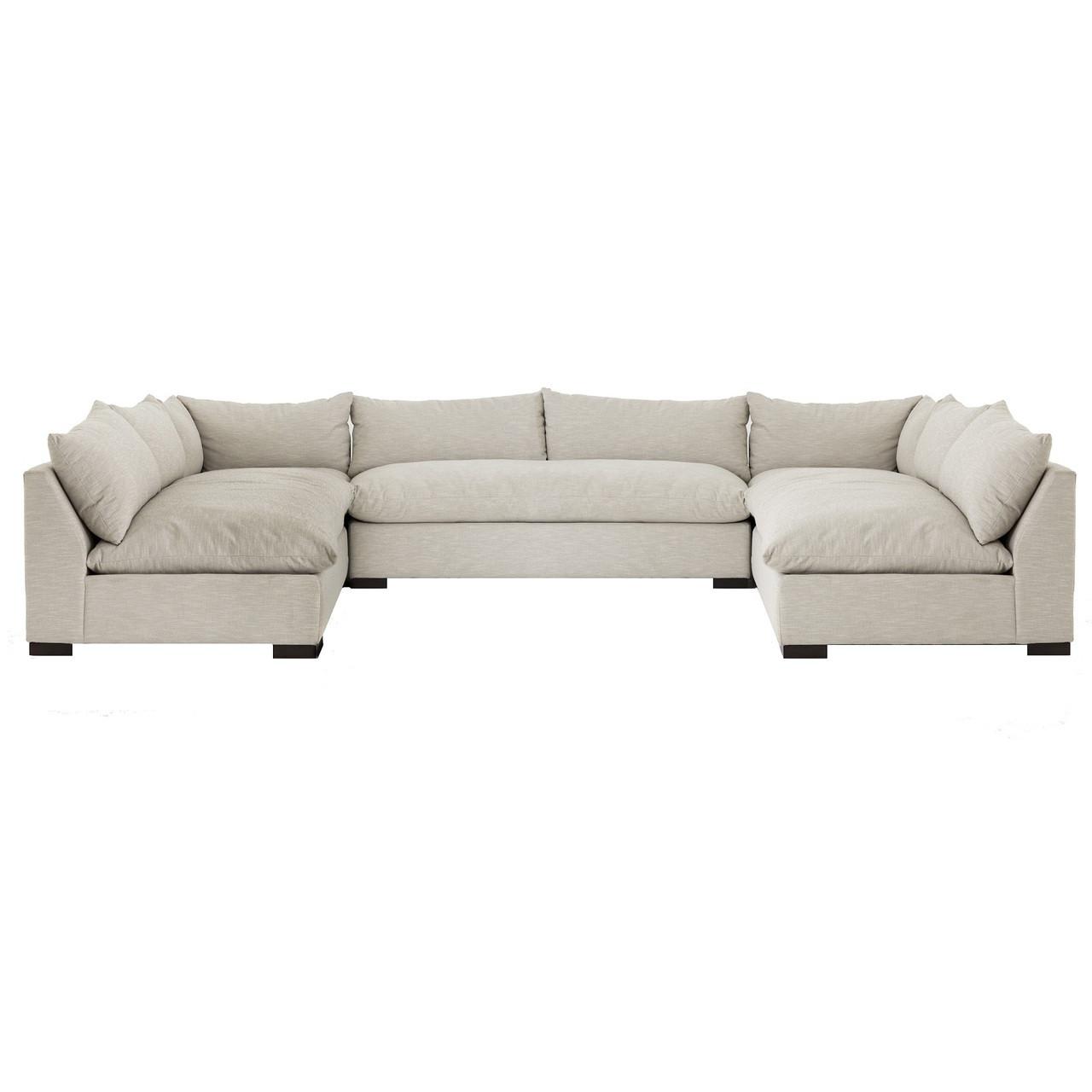 "Grant Modern Charcoal Grey Armless Corner Sectional: Grant Modern Oatmeal 5-Piece Armless ""U"" Sectional Sofa"