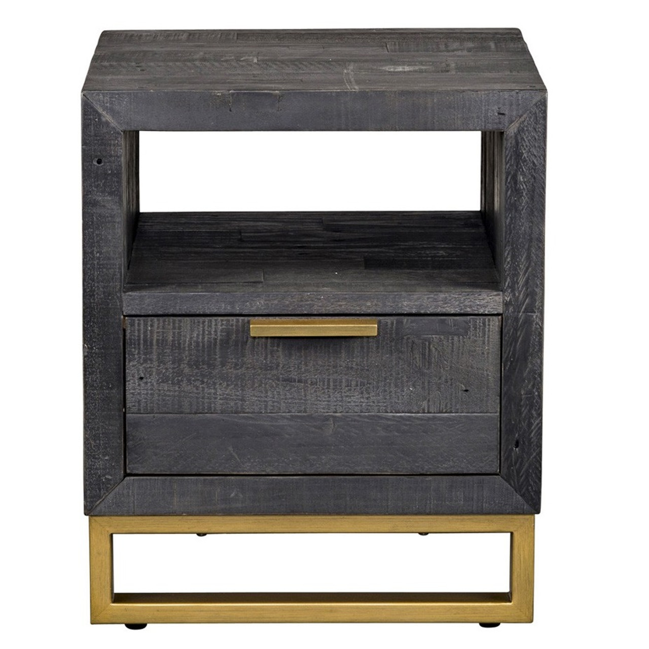 Elle Brass Leg Reclaimed Wood Drawer Side Table Black Zin Home - Black and brass side table