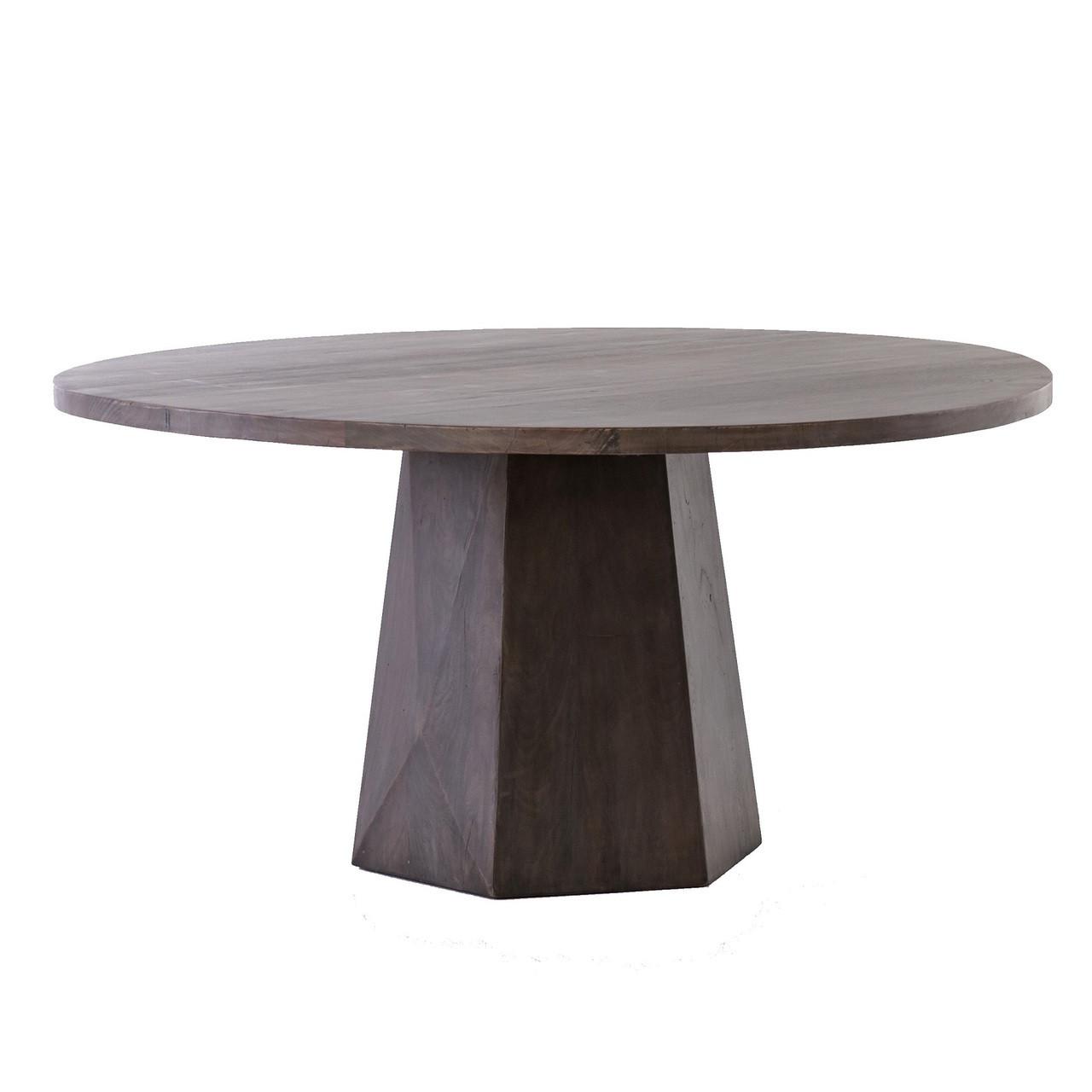 Kemper Reclaimed Wood Coal Grey Round Pedestal Dining Table - Whitewashed pedestal dining table
