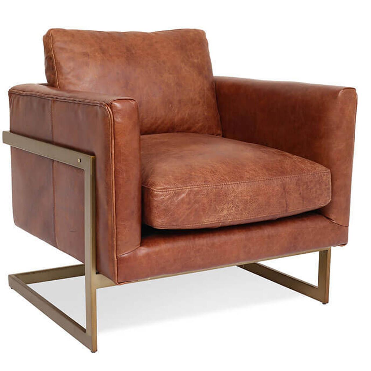 London Modern Cognac Leather Club Chair   Zin Home