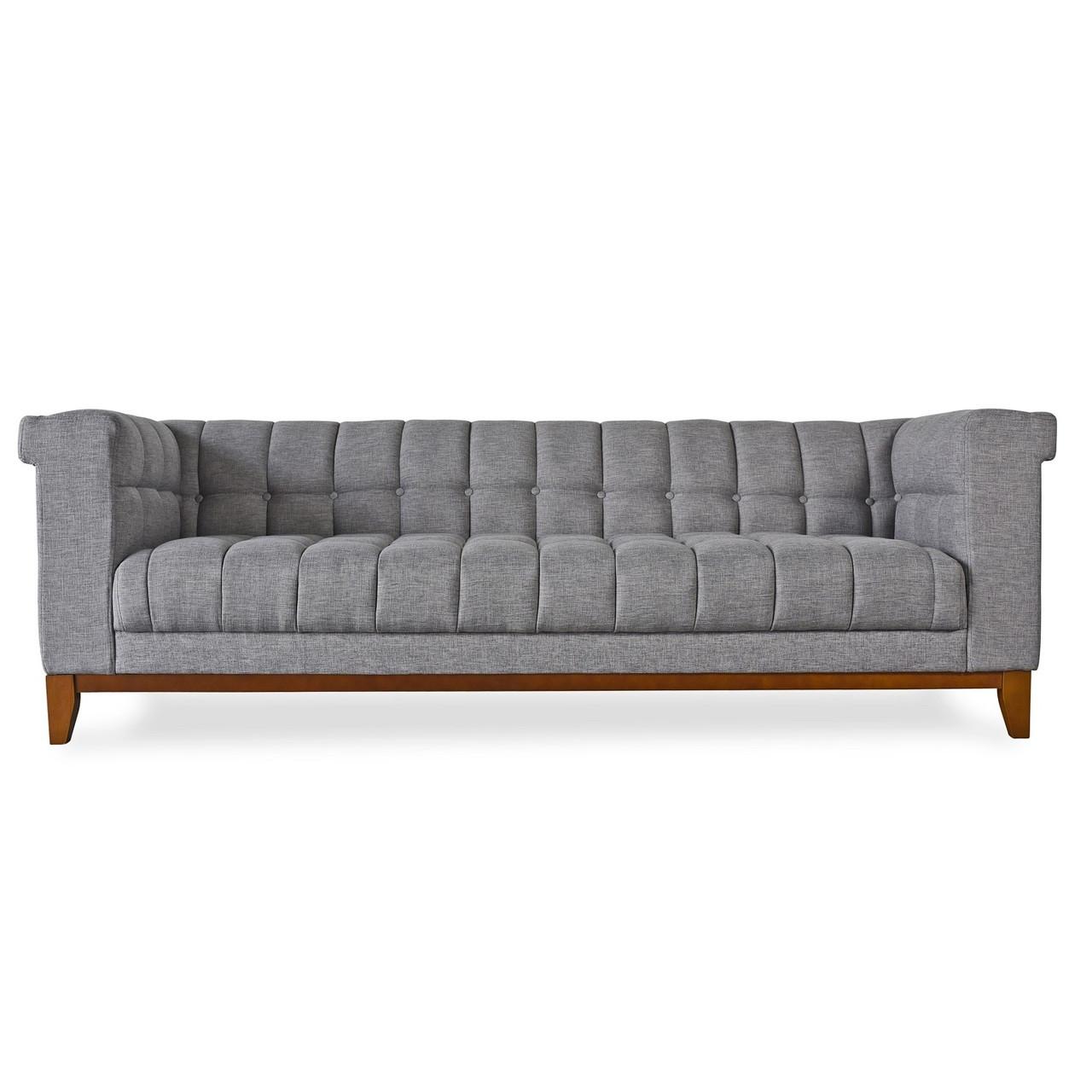 Nest Modern Grey Linen Tufted Sofa