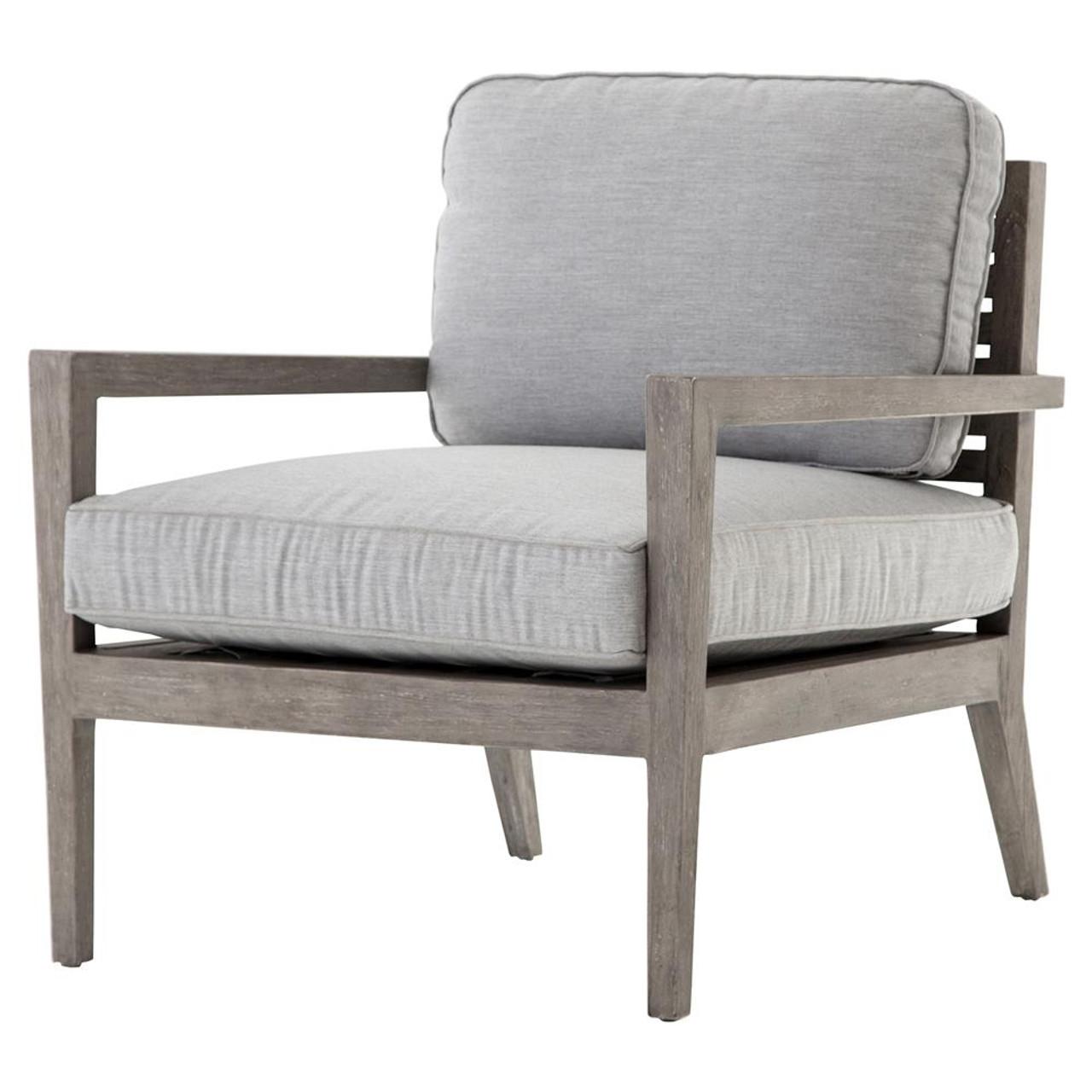 Laurent Rustic Modern Grey Cushioned Teak Outdoor Arm Chair