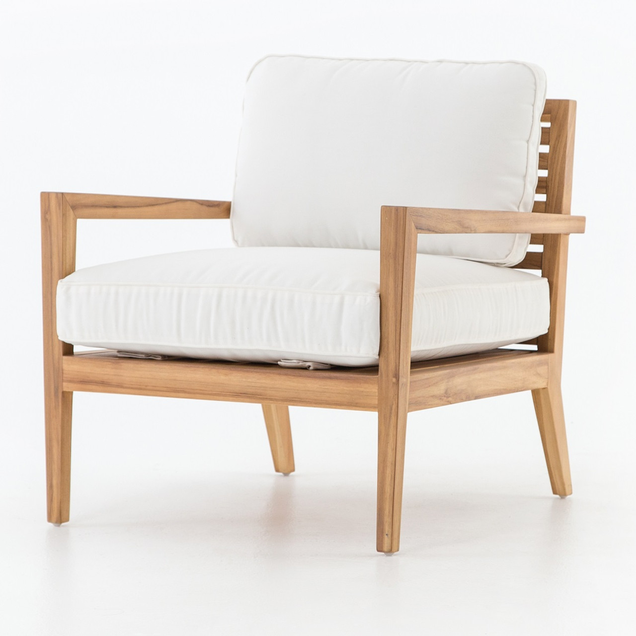 Laurent Rustic Modern White Cushioned Teak Outdoor Arm Chair