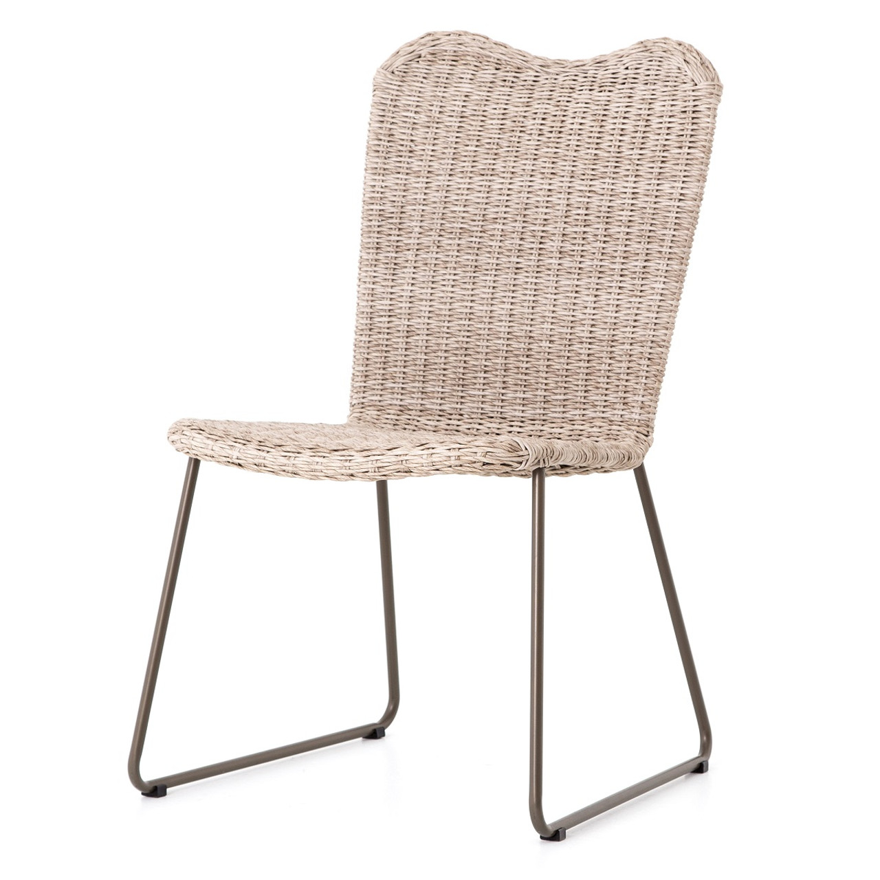 Canbiro Vintage White Woven Wicker Outdoor Dining Chair