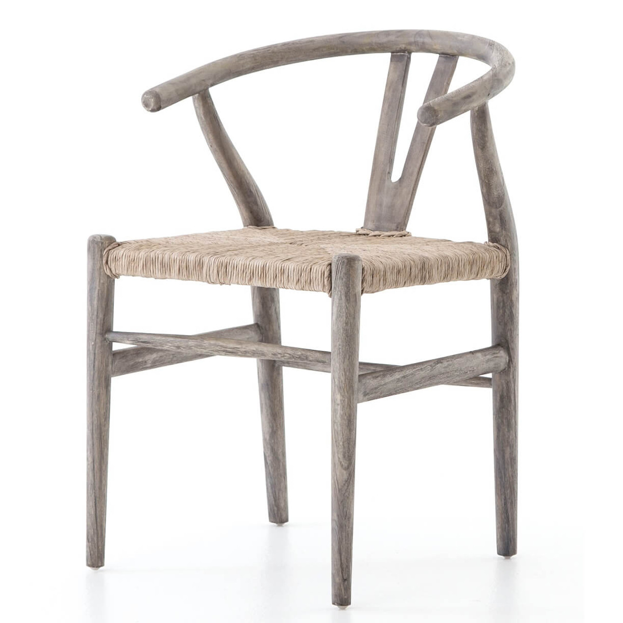 Muestra grey teak wood woven wicker dining chair