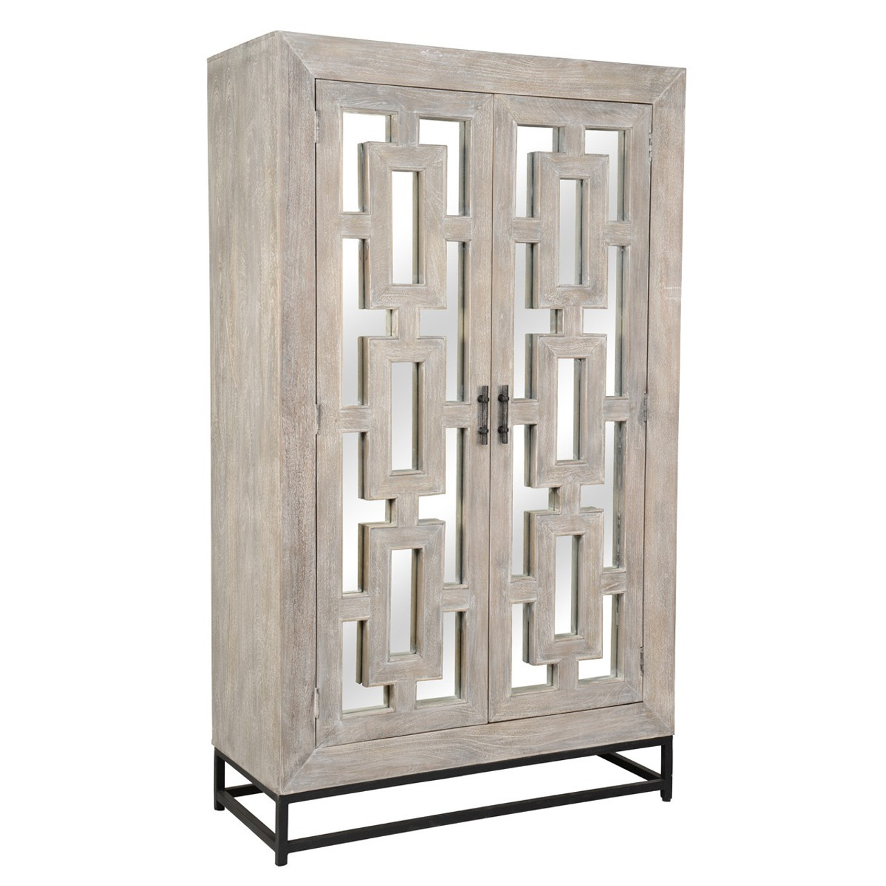 Marabella 2 Door Mirrored Wood Cabinet Hutch Zin Home