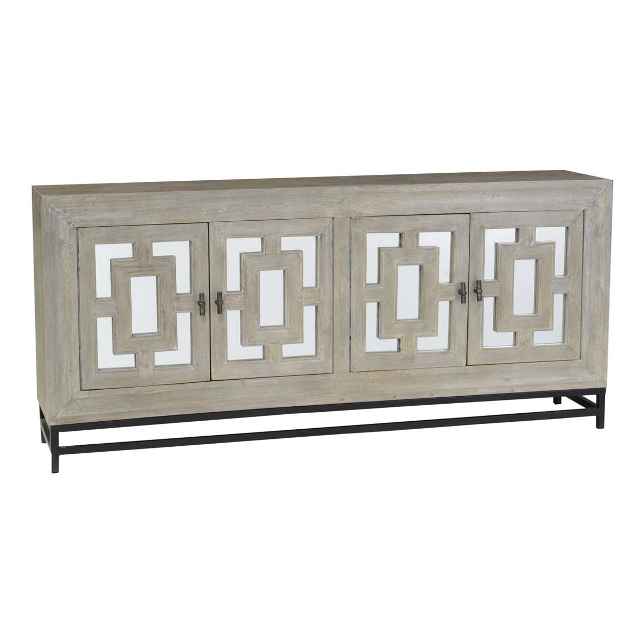 Perfect Marabella 4 Door Mirrored Wood Buffet Sideboard | Zin Home HR44