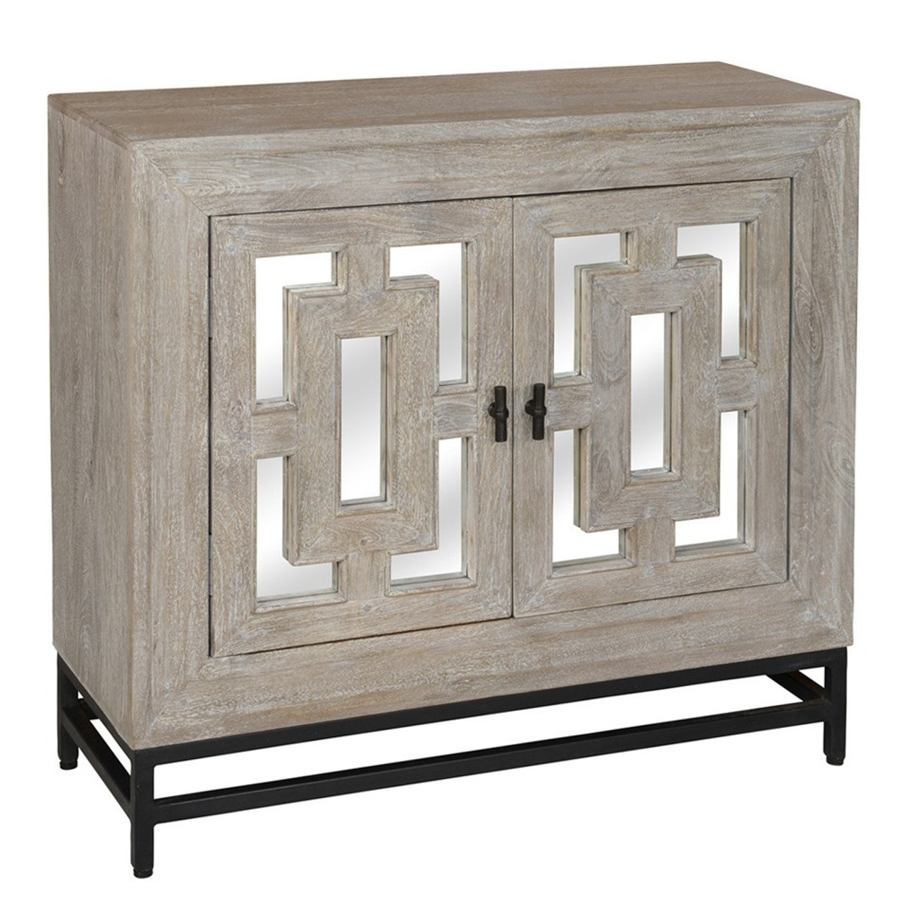 Ordinaire Marabella 2 Door Mirrored Wood Small Sideboard