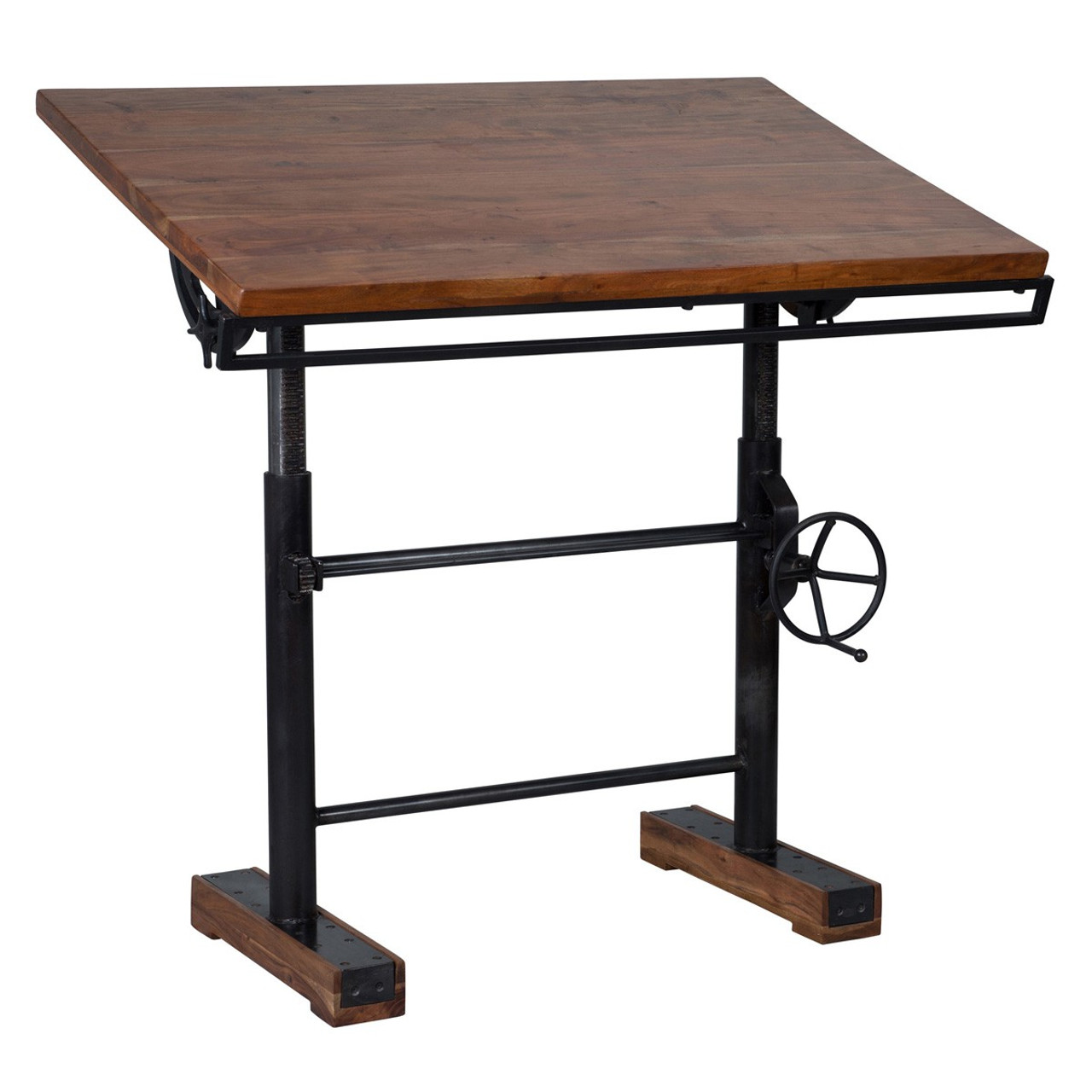 steampunk industrial crank adjustable standing desk 46 zin home rh zinhome com crank adjustable desk diy crank adjustable desk base with casters