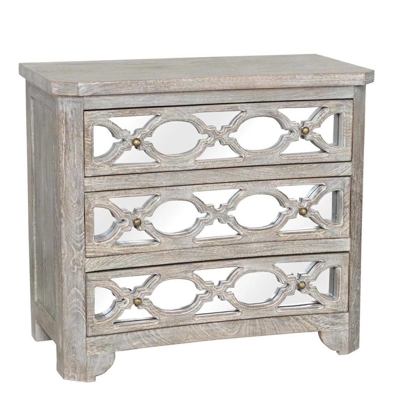 whitewash wood furniture. Lattice Whitewash Wood Mirrored 3 Drawers Chest Furniture