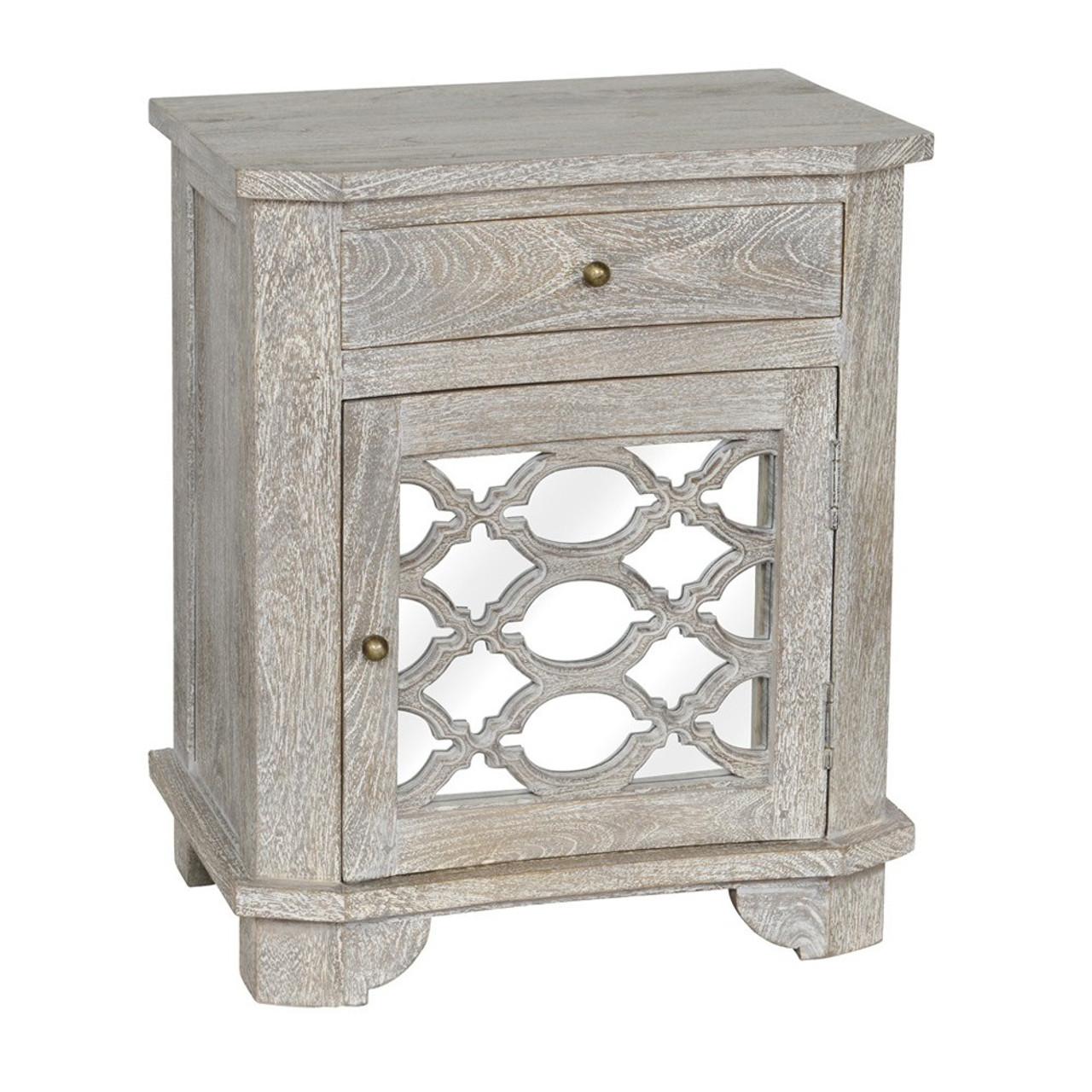 Lattice Whitewash Wood Mirrored 1 Drawer Nightstand
