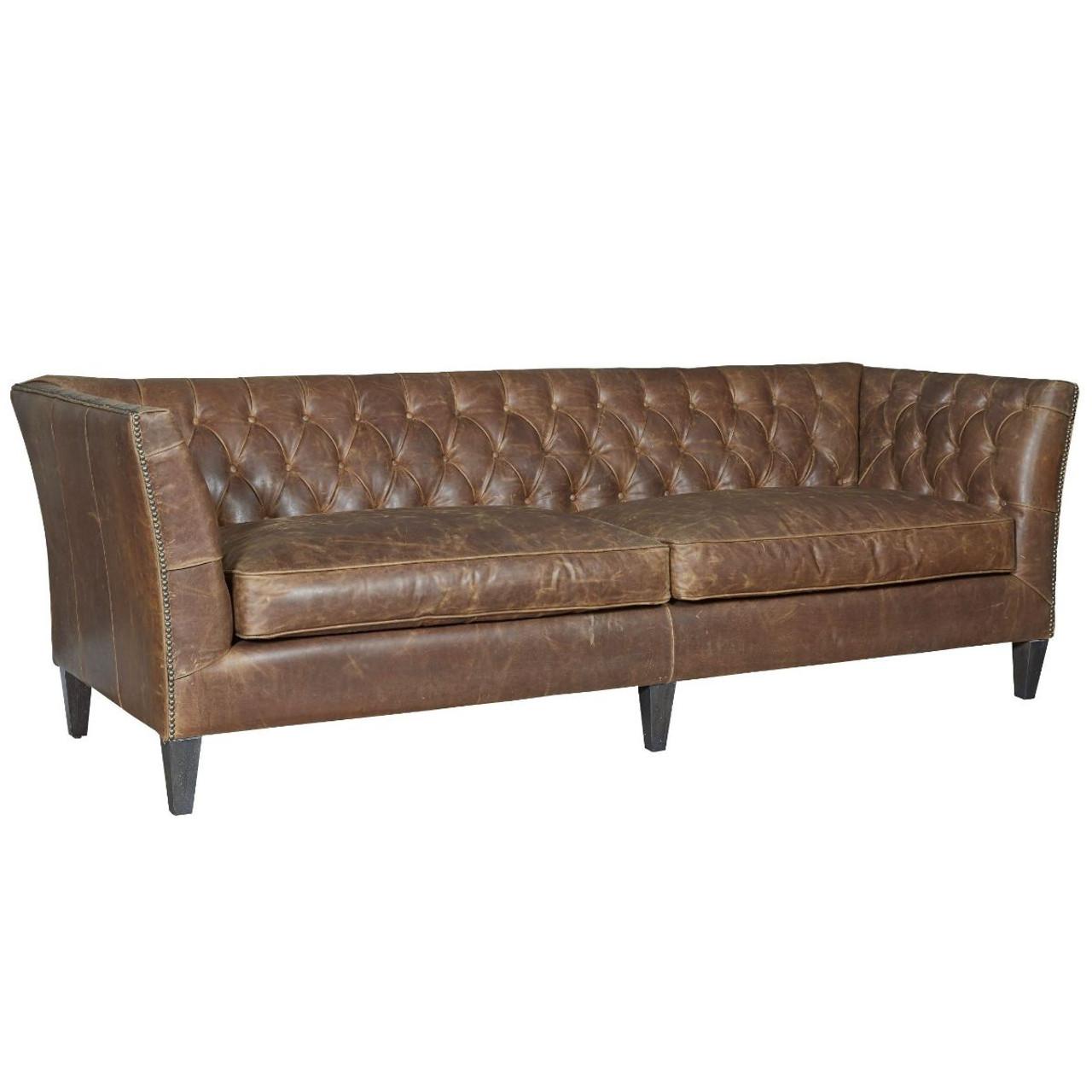 duncan chestnut tufted leather sofa 98 zin home. Black Bedroom Furniture Sets. Home Design Ideas