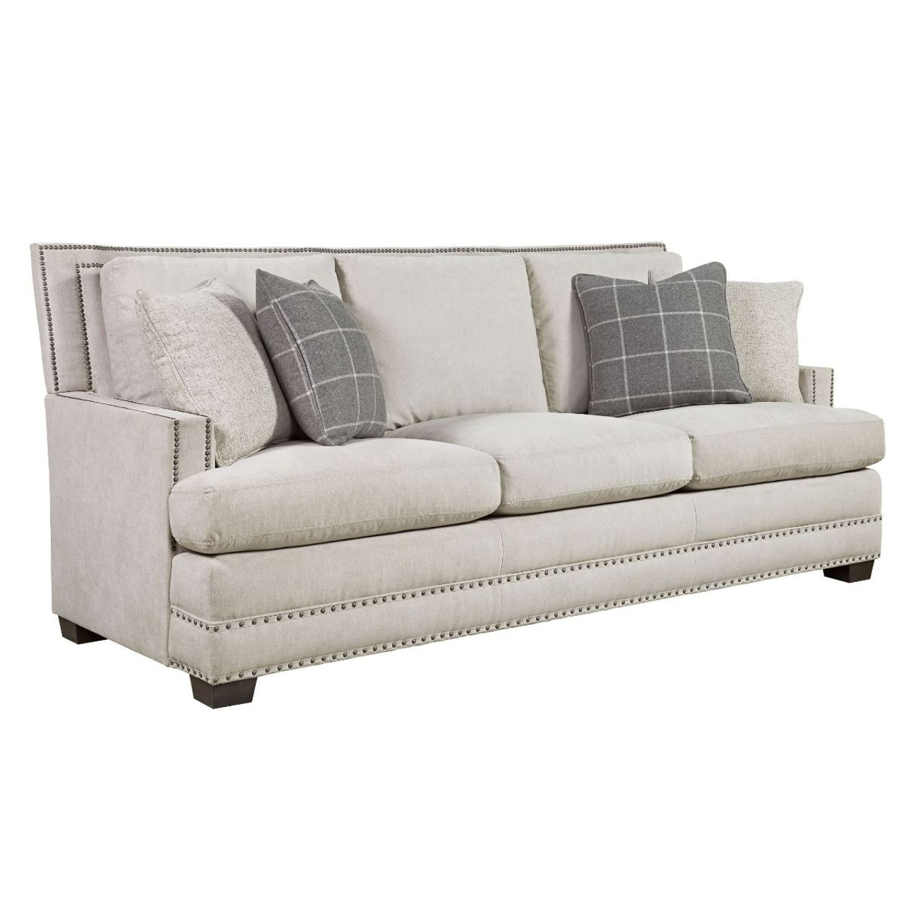 Delightful Franklin Upholstered 3 Seat Sofa With Nailheads