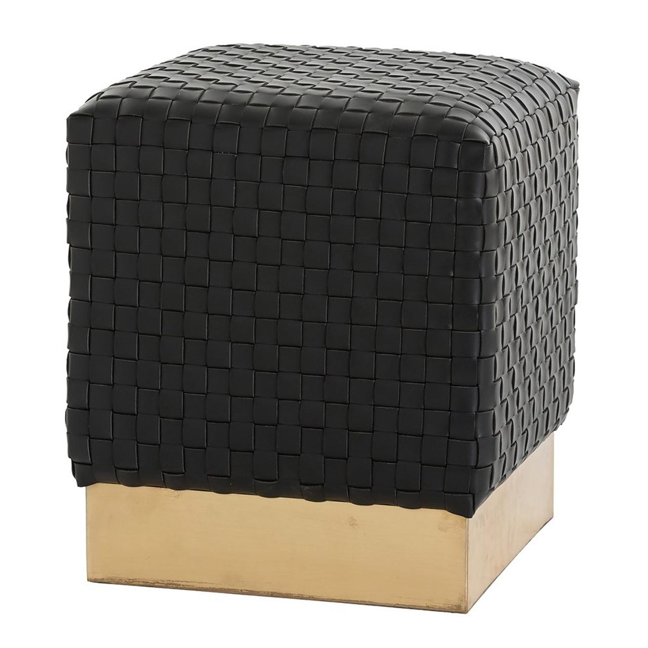 Arteriors, Emmit Black Woven Leather Square Ottoman, 6141