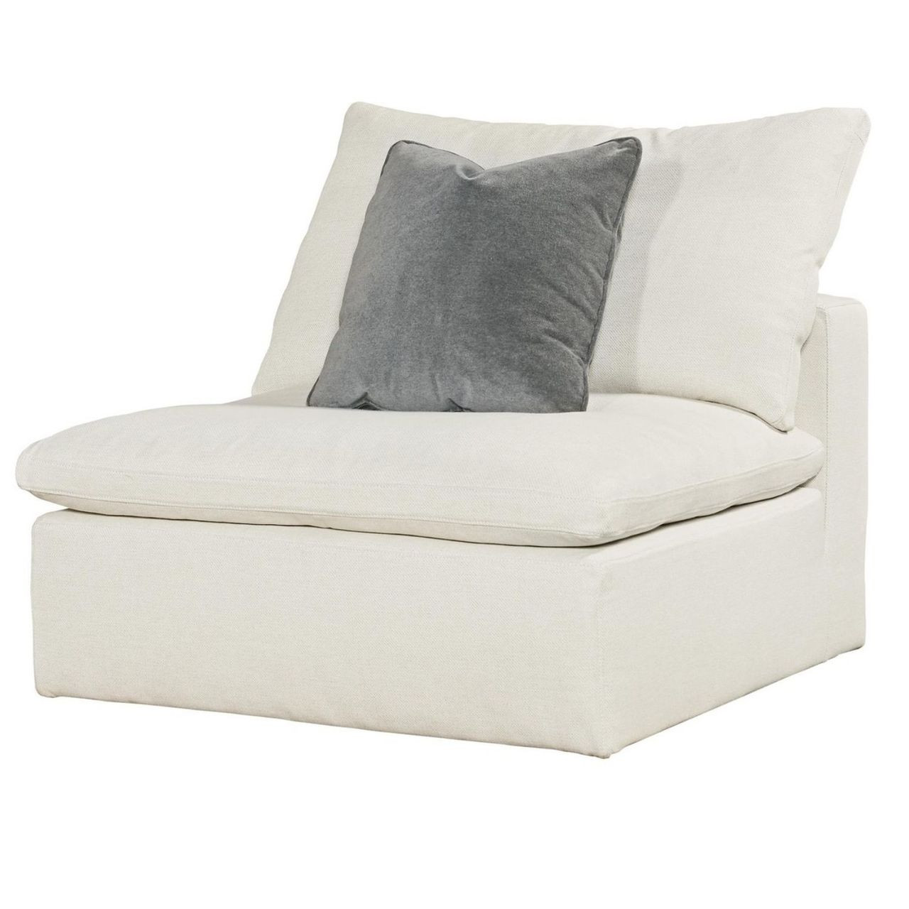 Superbe Palmer Coastal Beige Upholstered Armless Chair