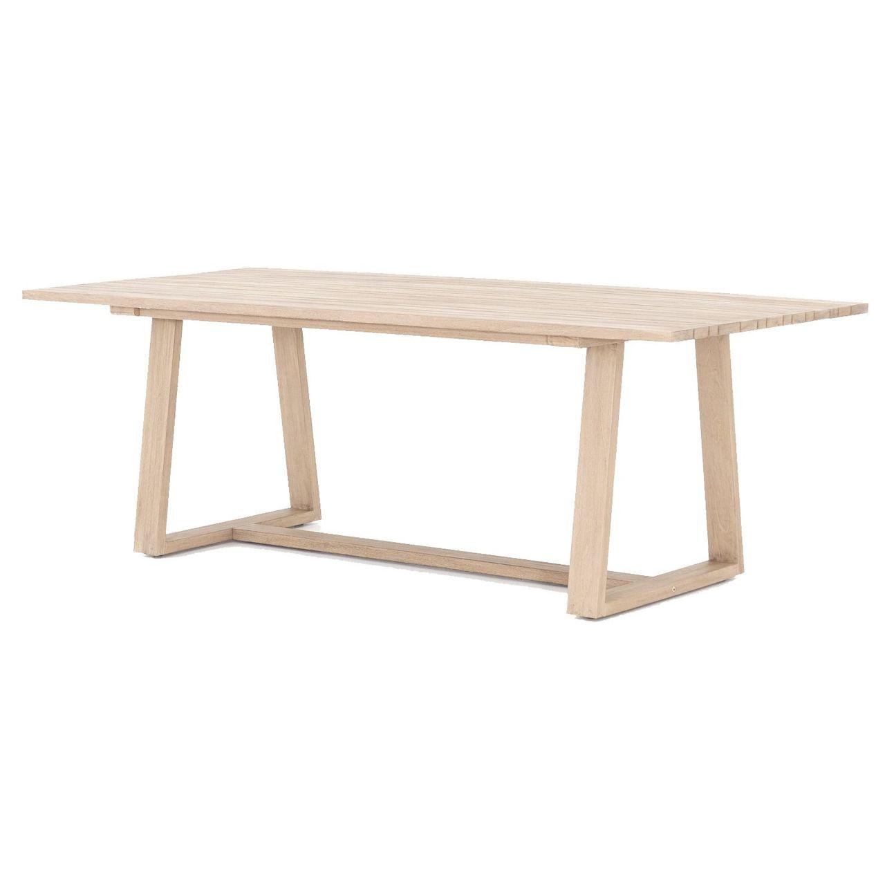 atherton brown teak outdoor dining table 87 - Teak Outdoor Dining Table