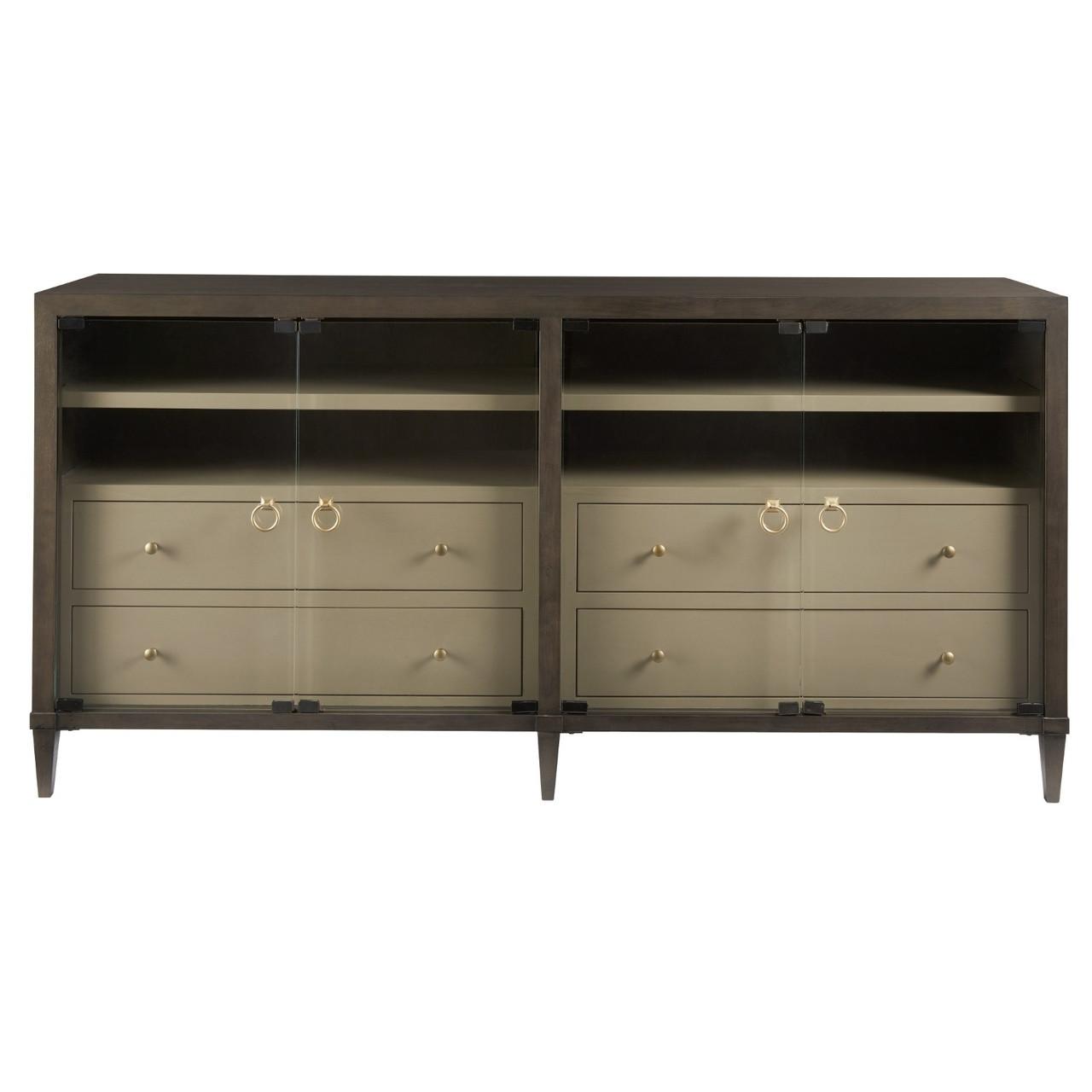 Soliloquy Media Cabinet With 4 Glass Doors 82 Zin Home