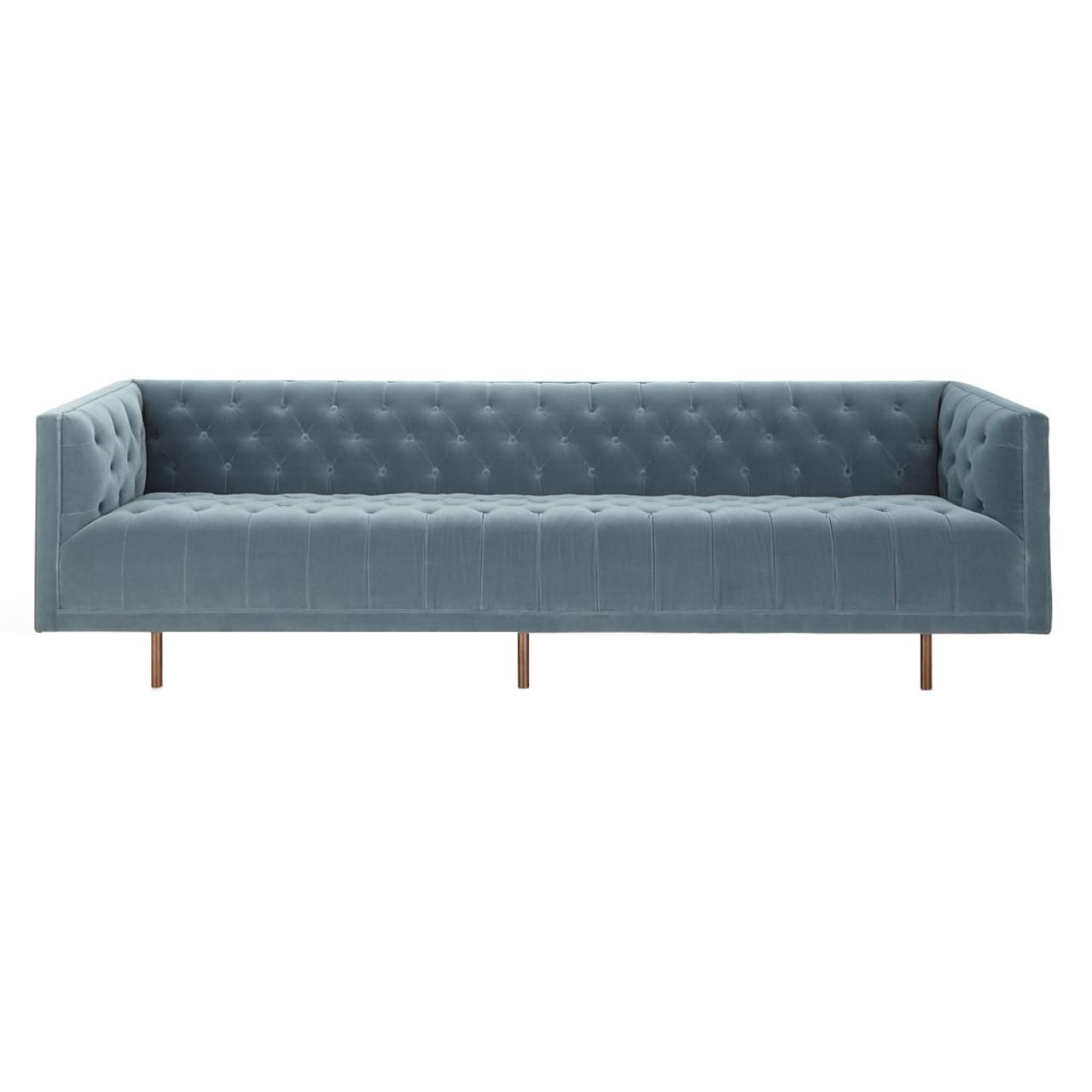 Lynette Blue Velvet Tufted Sofa 108 Quot Zin Home